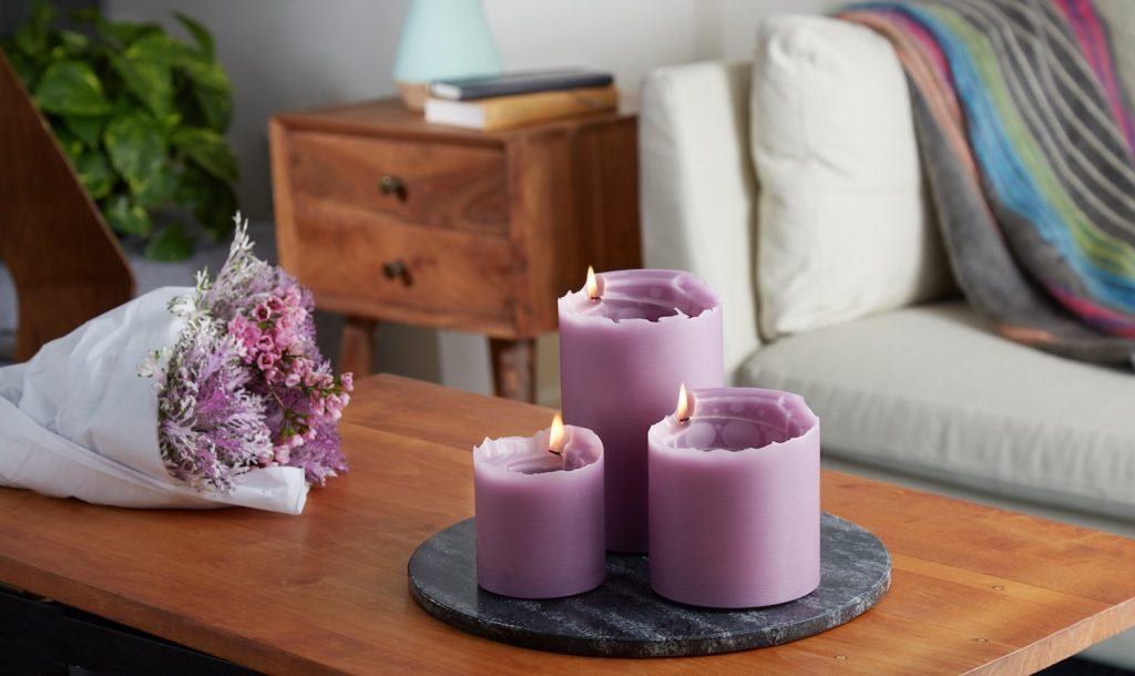 spiral light candles set of 3 in lilac
